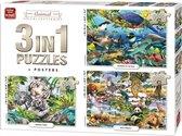 Afbeelding van Puzzel 3 in 1 met 500 & 1000 Stukjes ANIMAL WORLD COLLECTION