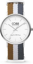 CO88 Collection Watches 8CW 10031 Horloge - Nato Band - Ø 36 mm - Bruin / Wit / Grijs