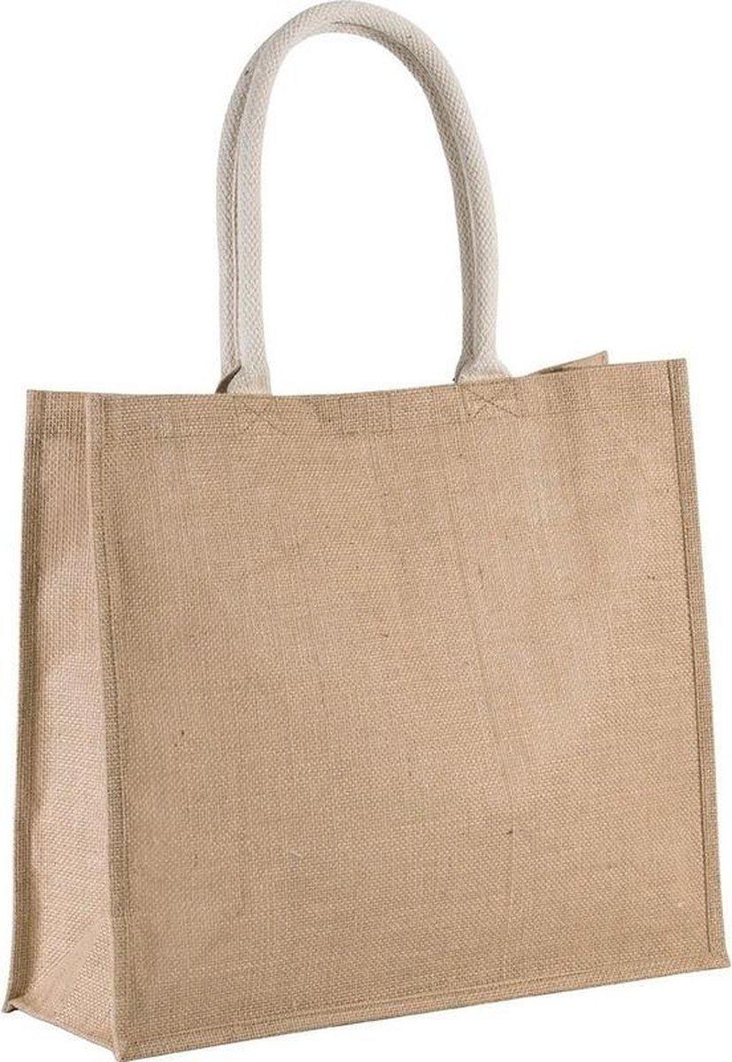 Jute naturel/beige shopper/boodschappen tas 42 cm - Stevige boodschappentassen/shopper bag