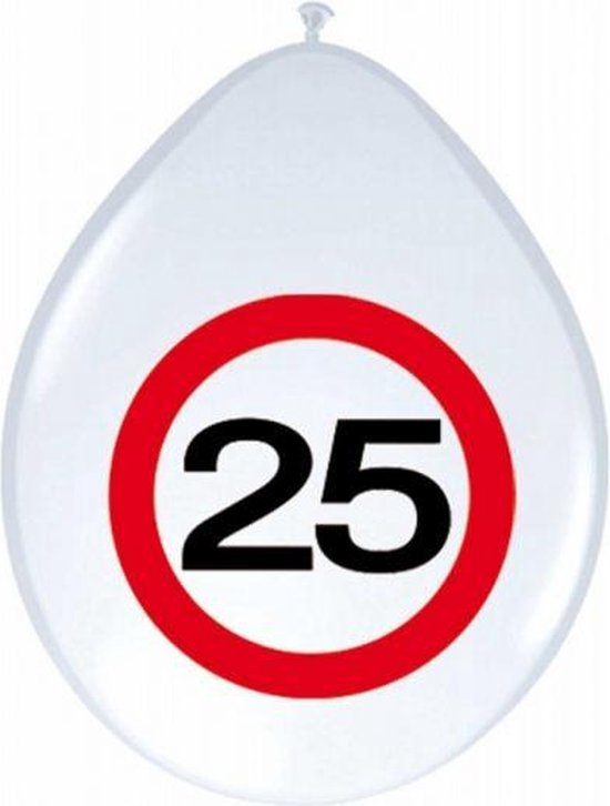 16x stuks Ballonnen 25 jaar verkeersbord versiering