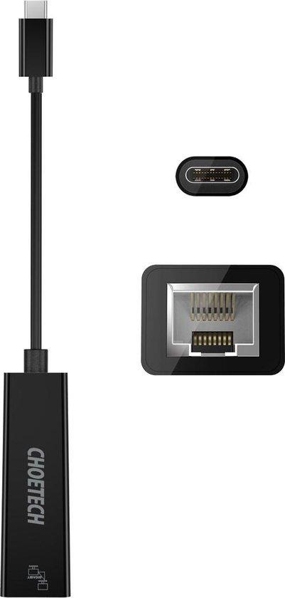 Choetech USB-C naar Gigabit Ethernet adapter 13cm - Zwart