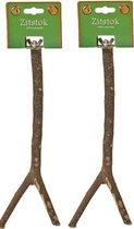 Houten zitstok met schroefdraad  30 cm per 2 stuks