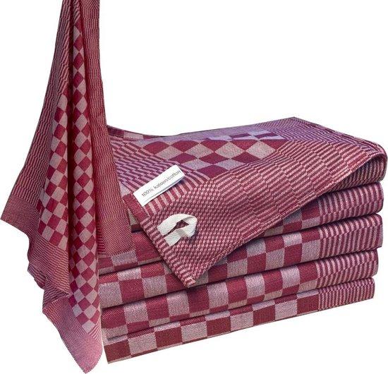 Homéé - Blokdoeken Theedoeken Pompdoeken cherry rood   set van 12 stuks   70x70cm