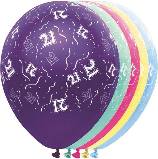 Ballon 21 jaar - metallic - feestballon - 5 stuks