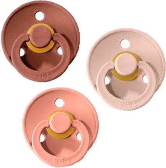 Product: Bibs Fopspeen 3 stuks 0-6 maanden | Blush, Woodchuck, Peach| Maat 1, van het merk BIBS