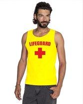 Sexy lifeguard/ strandwacht mouwloos shirt geel heren S