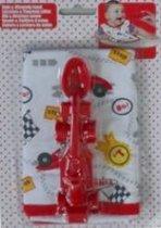 Racewagen Rode lepel + slabber voor baby peuter