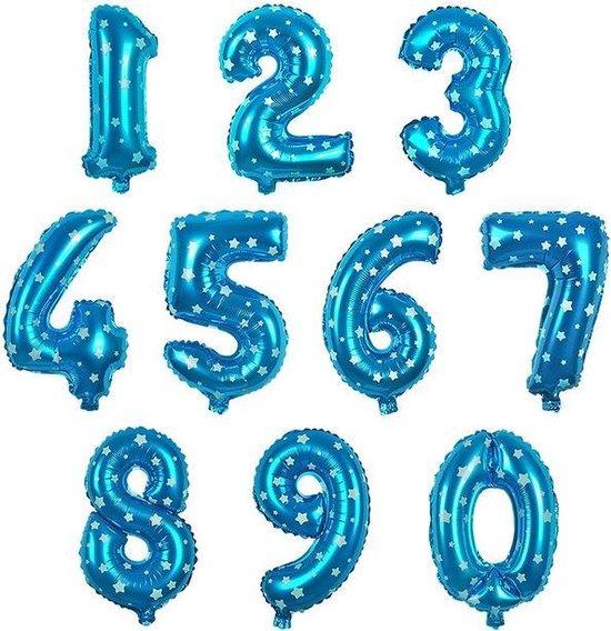 Cijfer ballon 4 blauw met sterren