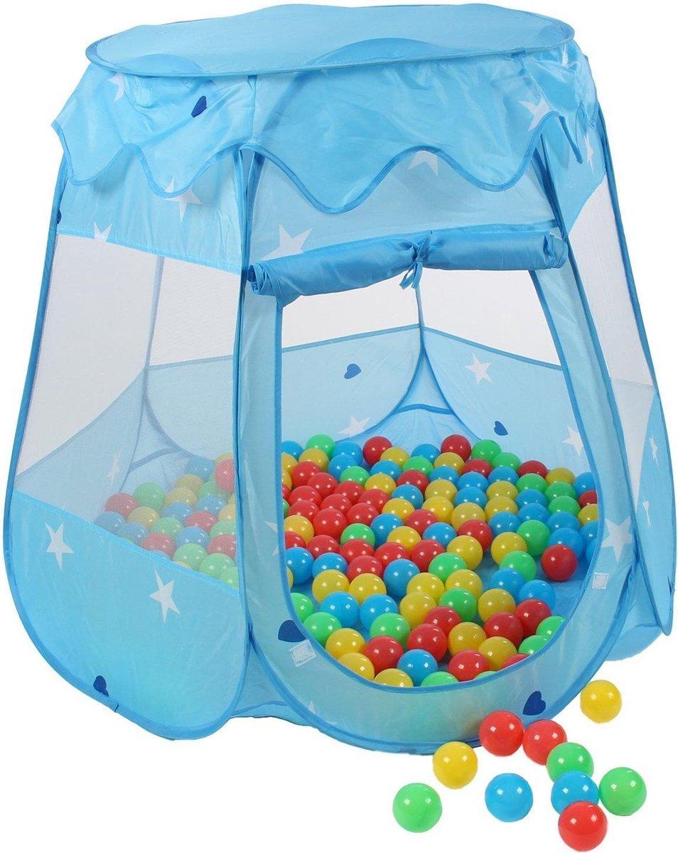 Kinderspeeltent met 100 ballen - voor binnen en buiten - inclusief draagtas - Blauw