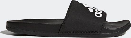 adidas CF Adilette Plus Logo Slippers Volwassenen - Zwart/Wit - Maat 43 1/3