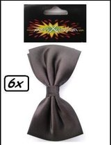 6x Strik luxe satijn zwart 13 x 8.5 cm