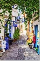 Graphic Message Tuin Schilderij op Outdoor Canvas Griekse Steeg - Griekenland - Buiten