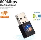 DrPhone W3 USB Draadloze Dual Band 2.4 GHz / 5 GHz WiFi-adapter (600 Mbps Ultra FAST) Superspeed Mini WiFi-Dongle voor o.a  Desktop /Laptop /PC Windows 10/8/7 MAC OS / Kali Linux/ ODROID 600mbps
