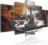 Schilderij - Herfst Boeddha , waterval , bos , 5 luik