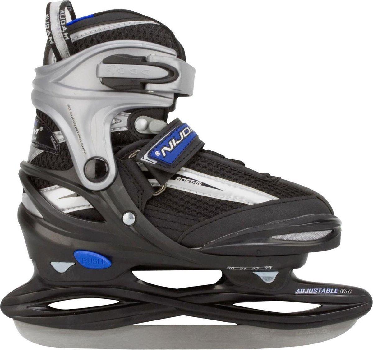 Nijdam Junior IJshockeyschaats - Verstelbaar - Semi-Softboot - Grijs/Zwart - Maat 30-33