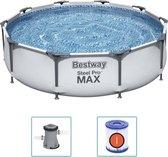 Bestway Steel Pro MAX Zwembad- 305 x 76cm Vanavondinhuis super voordeel set. Inclusief filterpomp en solar afdekzeil.