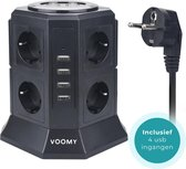 Voomy Multi Stekkerdoos met Schakelaar - 4 USB Laders - 8 Stopcontacten