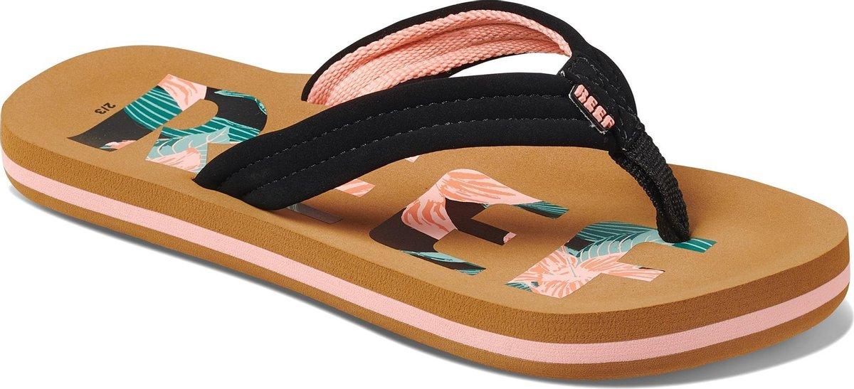 Reef Slippers - Maat 35/36 - Meisjes - zwart/licht roze/groen