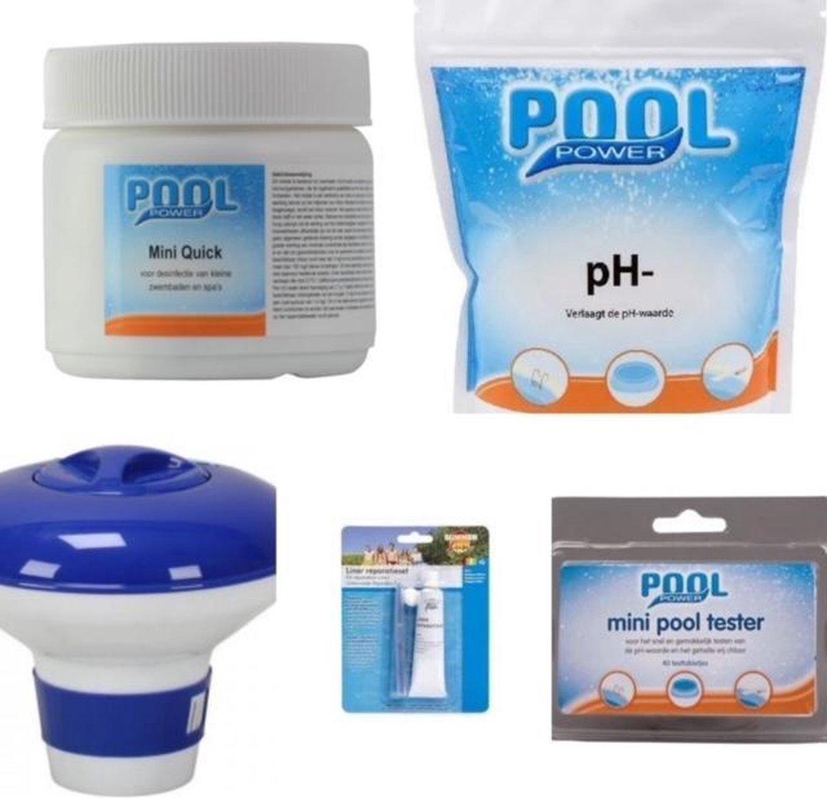 onderhoud chloor starterset zwembad PH - Chloor + extra reparatie set