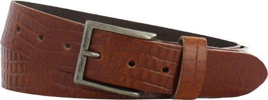 Lederen riem 4 cm breed – Zilver gesp – Leren Broekriem – Jeans breedte – 105 cm leer Croco print – kleur Cognac / licht bruin