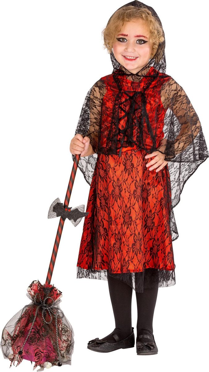 dressforfun - meisjeskostuum Vampir-Lady 152 (12-14y)  - verkleedkleding kostuum halloween verkleden feestkleding carnavalskleding carnaval feestkledij partykleding - 300049
