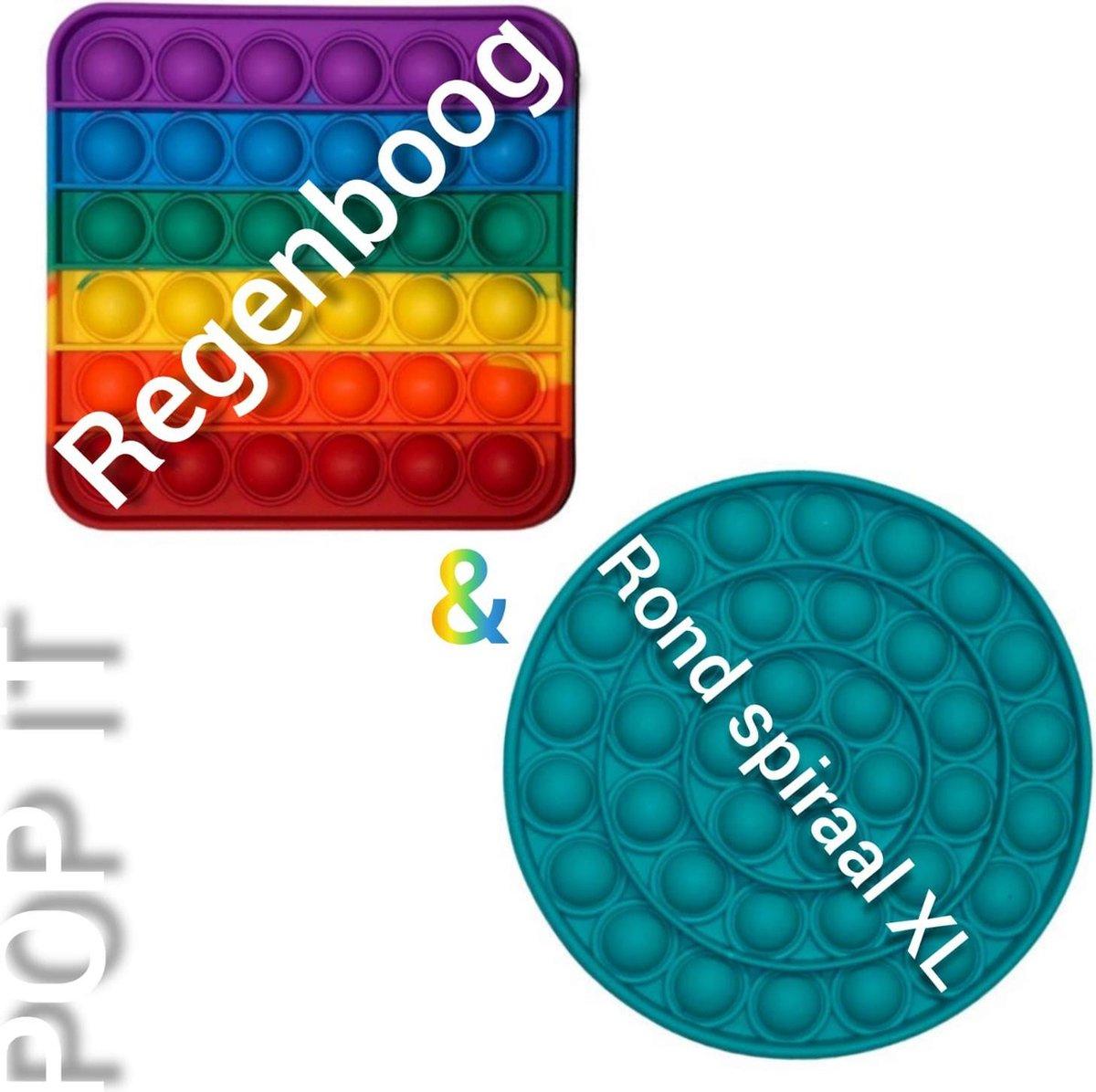 Pop it | Fidget toys pakket |Regenboog vierkant + Rond spiraal groen | Meisjes jongens volwassenen | Anti stress 2021 | Cadeautip _ Leuk voor zwembad