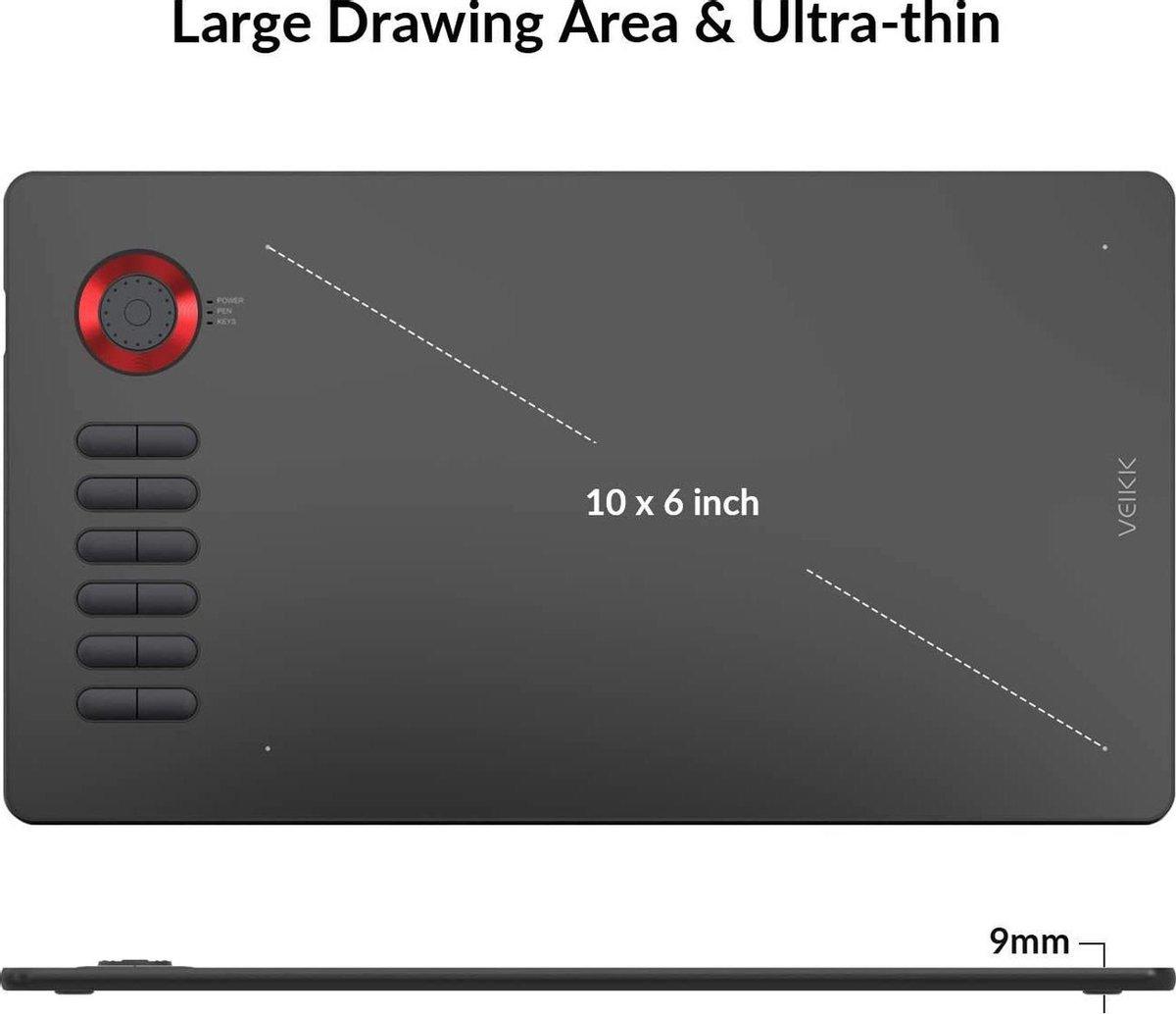 Veikk A15 Pro Tekentablet Blauw 10 x 6 inch digitale pentablet met 12 sneltoetsen en een snelkeuze (8192 niveaudruk batterij - gratis stylus)