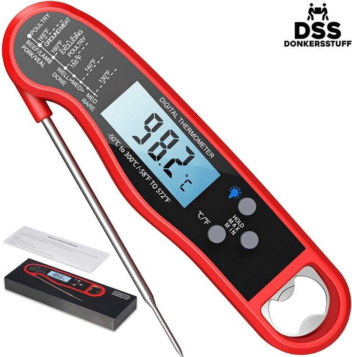 Donkersstuff - Vleesthermometer - Kernthermometer - Voedselthermometer - Kookthermometer - BBQ Thermometer - Bieropener - Tot 300°C