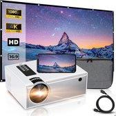 Beamer Projector input tot Full HD - Incl. Projectiescherm + Draagtas + HDMI Kabel + AAA-Batterijen - Mini Beamer - Beamer Projector