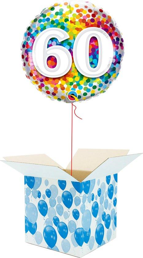 Helium Ballon Verjaardag - gevuld met helium - 60 Jaar - Confetti dots - Cadeauverpakking - Happy Birthday - Folieballon - Helium ballonnen verjaardag