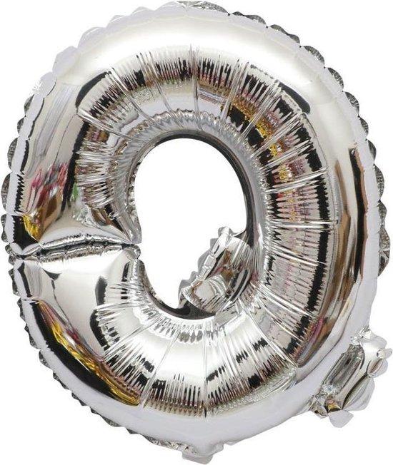 Folieballon / Letterballon Zilver - Letter Q - 41cm