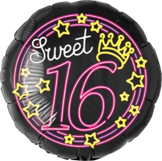 Helium Ballon Sweet 16 Neon 46cm leeg