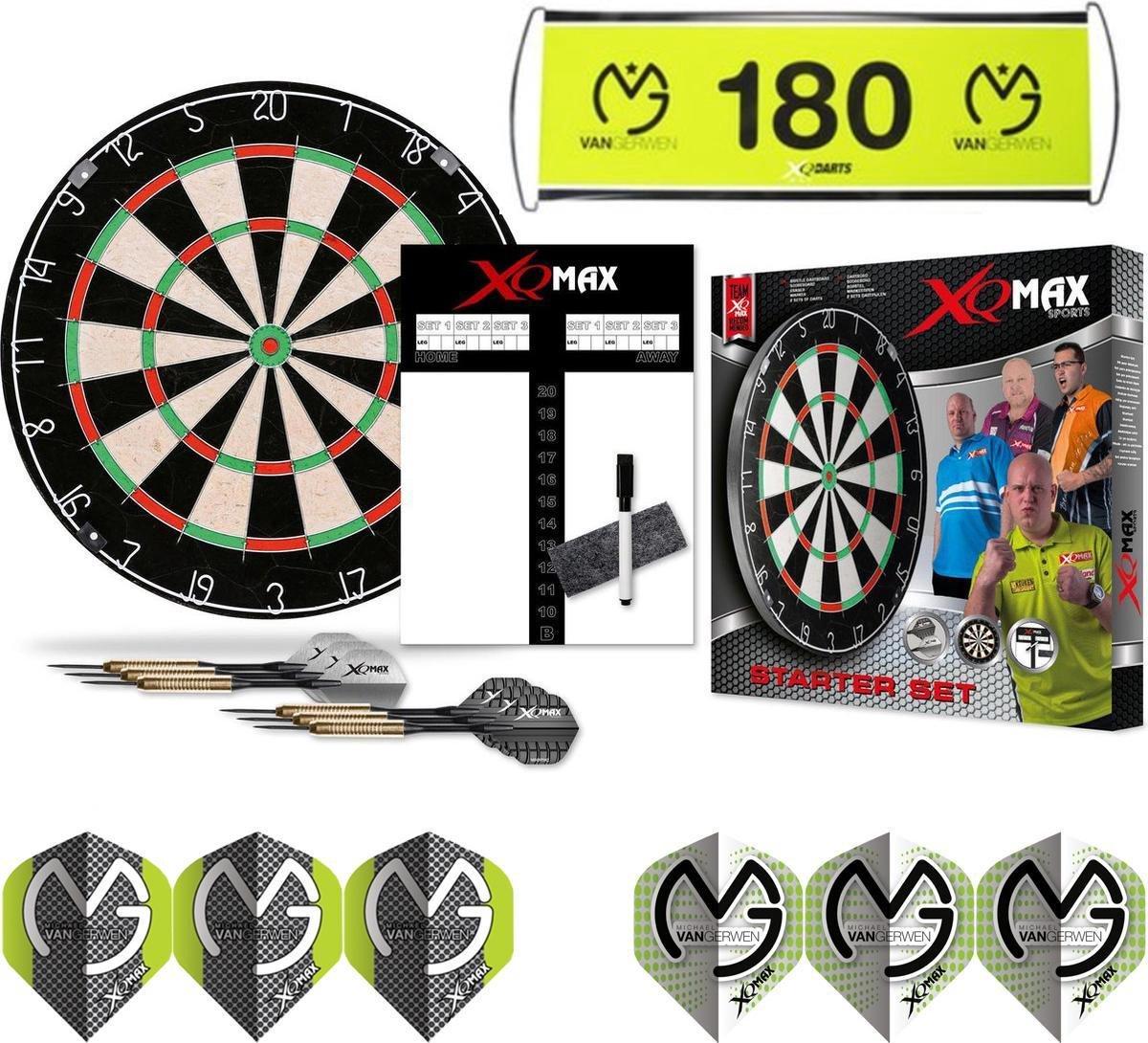 XQ Max Michael van Gerwen - dartbord - starter set - met banner