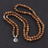 Mala ketting 108 kralen hout Ohm - Armband Tibetaanse Rozenkrans Vrouwen / Mannen - Boeddha - Yoga -