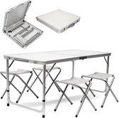MaxxGarden Opvouwbare Picknicktafel - Biertafel met banken - Vouwtafel - campingtafel set - Wit - 120 x 70cm
