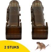 Hubert Wyoming - Diervriendelijke Muizenval voor Binnen en Buiten - Aangepast Nieuw Model voor Kleine en Grote Muizen - Extra gevoelig -2 Stuks - Bruin