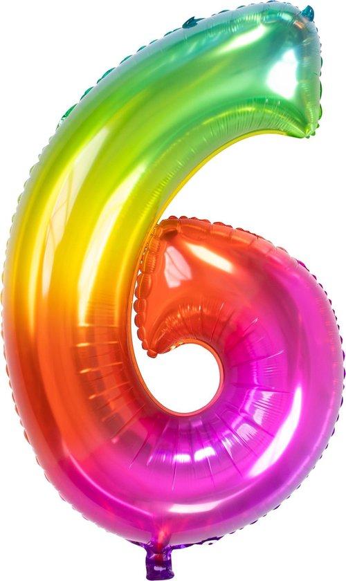 Folie Ballon Cijfer 6 Regenboog XL 81cm leeg