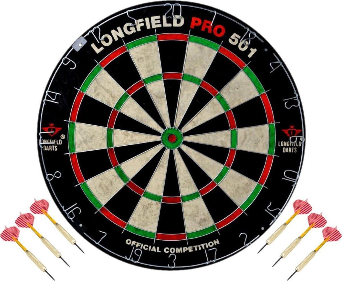 Dartbord set compleet van diameter 45.5 cm met 6x dartpijlen van 25 gram - Longfield professional - Darten
