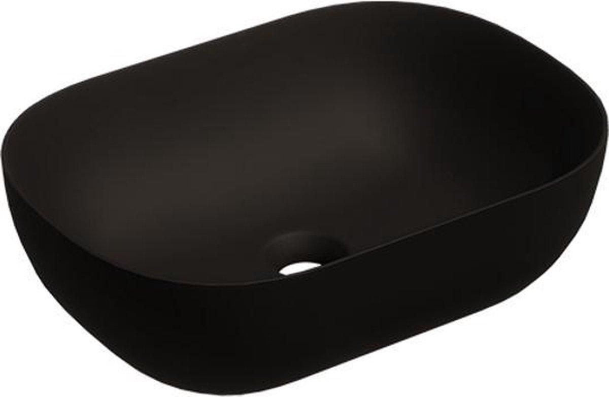Keramische ovale opbouw waskom Oval mini 46x33cm zwart