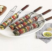 T.O.P.  BBQ grillrooster, barbecue accessoires voor je groente, vlees en vis, grillmand, groenterooster, klemmand, 2 stuks
