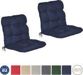 Beautissu Flair NL Set van 2x Tuinkussens - Kussen 100x50x8 cm Blauw - Zitkussen Matraskussen voor Tuin Meubelen