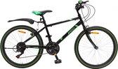 Amigo Rock Mountainbike - Voor jongens en meisjes - Met 18 versnellingen - Zwart/Groen