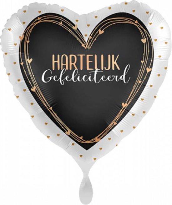 Folieballon - Hartelijk Gefeliciteerd – Hart Zwart