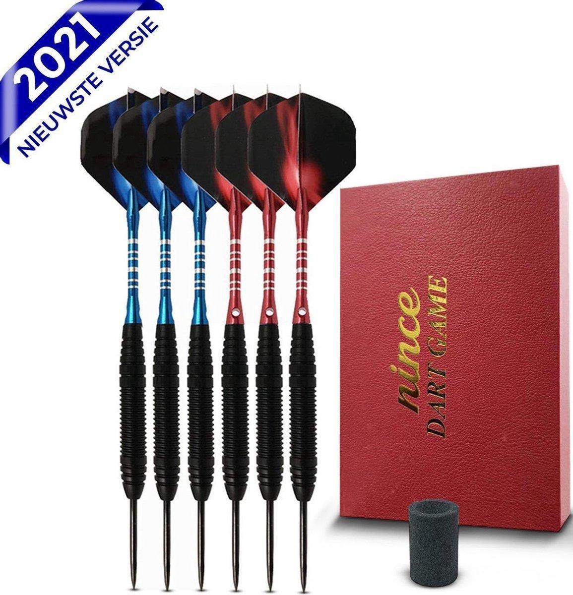 Nince Premium Dartpijlen van Hoge Kwaliteit Steeltip - Set van 6 - Dartpijltjes 24 Gram - Origineel cadeau