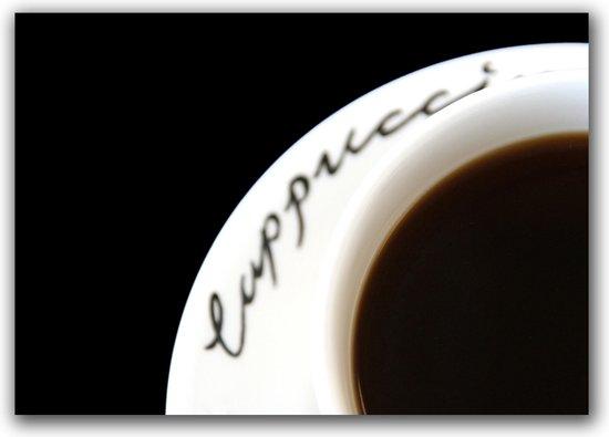 Tuinposter - Keuken - Koffie in zwart / wit  - 60 x 90 cm.