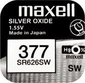 MAXELL 377 / SR626SW zilveroxide knoopcel horlogebatterij 2 (twee) stuks