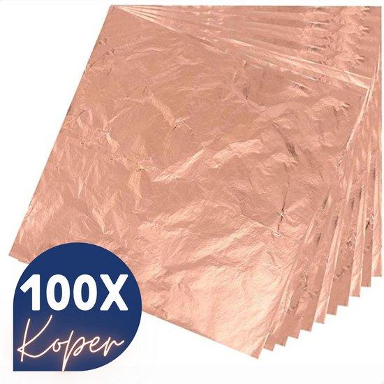 Bladmetaal – 100 vellen - KOPER - Imitatie bladgoud –  GROTE VELLEN >> 16*16cm - A-kwaliteit