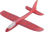 Zweefvliegtuig met verlichting Rood XL - EXTRA GROOT wegwerp vliegtuig foam - Speelgoed vliegtuig - stuntvliegers - vliegtuig kinderen - buitenspeelgoed - Vliegtuig van verhard foam