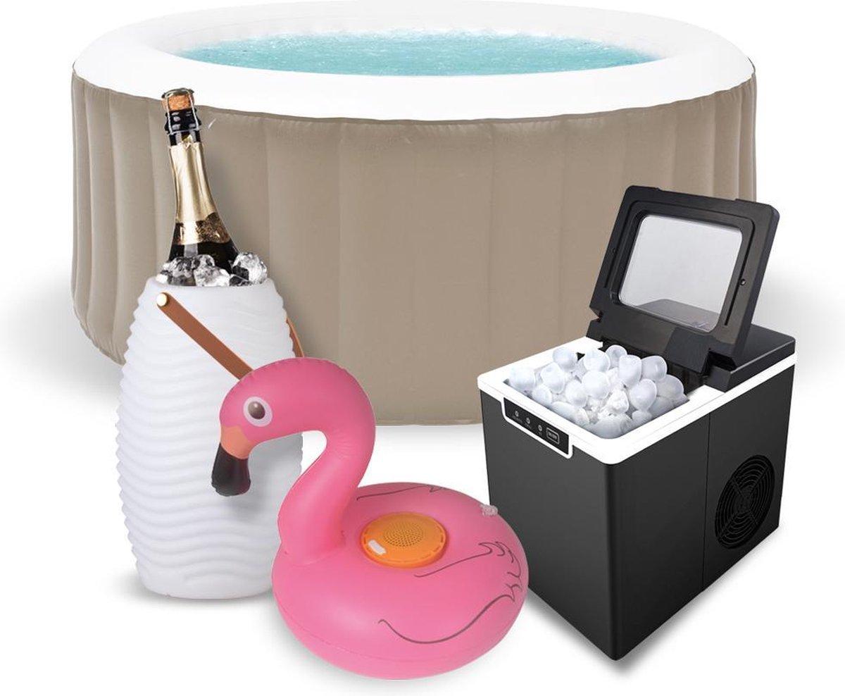 BluMill Jacuzzi Zomerbundel - Ø 175 x 70 cm - Bruin - Inclusief IJsblokjesmachine - Wijnkoeler - Waterproof Flamingo Speaker