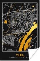 Poster Plattegrond - Tiel - Goud - Zwart - 40x60 cm